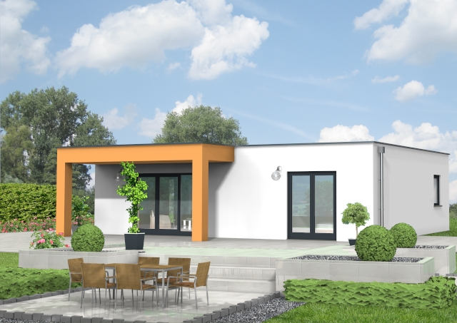 Bungalow mit Flachdach und überdachter Terrasse