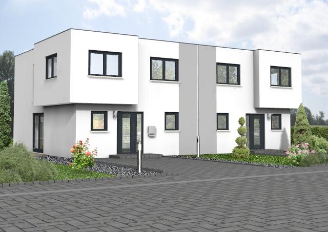 Doppelhaus mit Flachdach von der Strasse