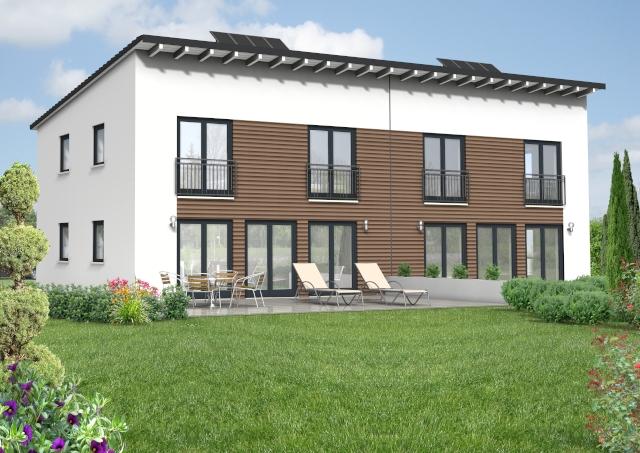 Doppelhaus mit Pultdach und Holzfassade